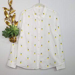 J. Crew 'The Perfect Fit' Pineapple Print Shirt M